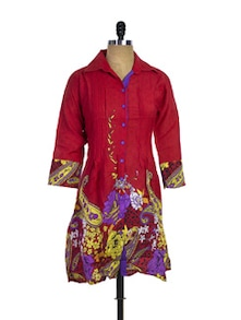 Collared Cotton Red Kurti - Purab Paschim