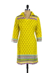Yellow Print Cotton Kurti - Purab Paschim