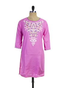 Pink Cotton Kurti With Designer Yoke - Purab Paschim