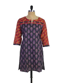 Cotton Kurti In Black - Purab Paschim
