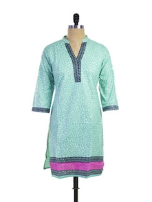 Delighful Sky Blue Cotton Kurti - Purab Paschim