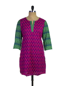Fuchsia Print Kurti With Colour Blocked Sleeves - Purab Paschim