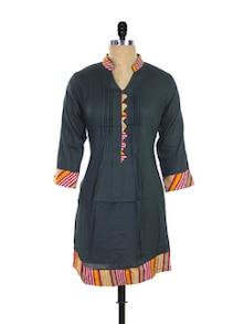 Pleated Black Kurti With A Splash Of Colour - Purab Paschim