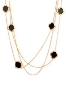Layered Necklace With Black Beads - CIRCUZZ