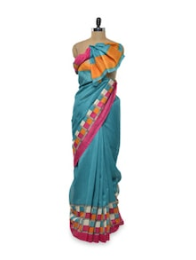 Green Silk Saree With Chequered Border - Purple Oyster