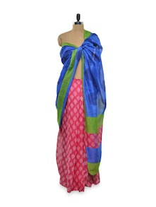 Royal Blue Saree With Printed Pink Pleat - Purple Oyster