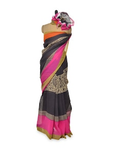 Black And Pink Kota  Silk Saree - Awesome