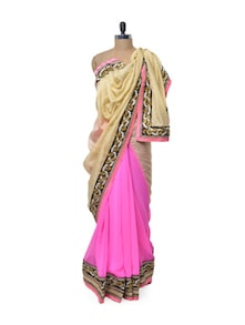 Hot Pink Saree With Subtle Beige Pallu - Get Style At Home