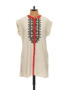 Ethnic Off-White Embroidered Tunic - Global Desi