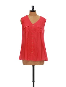 Stylish Coral Sleeveless Top - AND