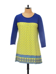 Stylish Lime & Blue Printed Top - Global Desi