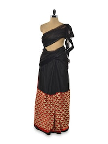 Glam Struck Half Stitched Net Saree In Black & Red - Purple Oyster