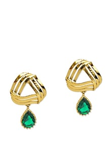 Elegant Green And Golden Earrings - Maayra