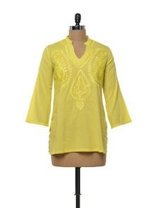 Canary Yellow Cotton Kurti - Myra