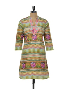 Printed Cotton Kurta In Vibrant Hues - Myra
