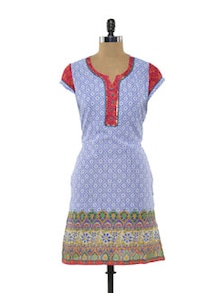 Cap Sleeved Cotton Kurta In Printed Blue - Myra