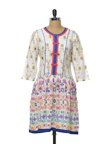 White Kurta With Multi Hued Florals - Myra