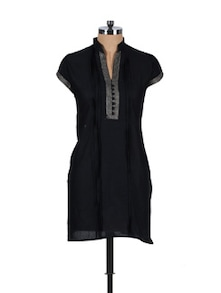Bravo Black Cotton Kurta - Vani