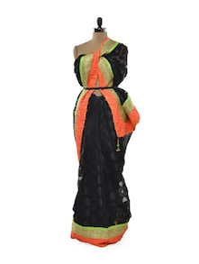 Neon And Black Net Saree - Free Living