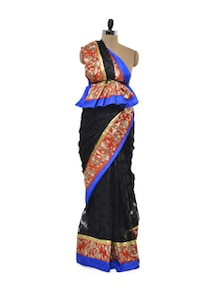 Tangerine Black Net Saree - Free Living