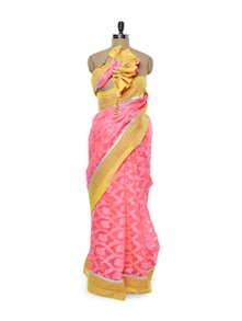 Pretty Pink Net Saree - Free Living