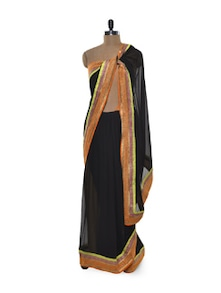 Black And Neon Net Saree - Free Living