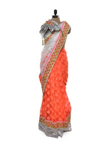 Silver Sheen Orange Saree - Free Living