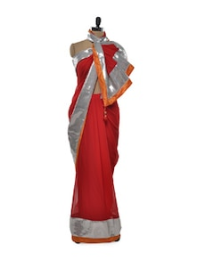 Silver Sheen Red Saree - Free Living