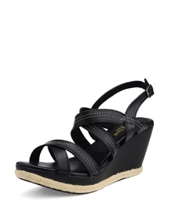 Black Strappy Wedge Heels - Carlton London