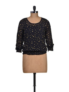 Black Polka Dot Round Neck Top - Harpa