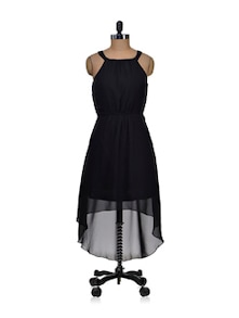 Stylish Black Short Front Back Long Dress - Harpa