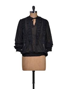 Bow Styled Polka Dot Black Shirt - Harpa