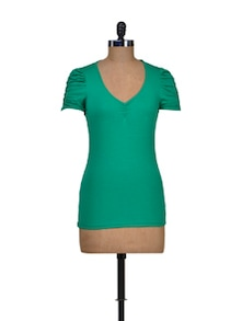Trendy Green Stretch Top - Harpa