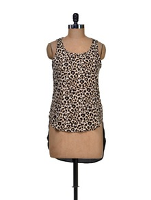 Brown Animal Print Top - Harpa