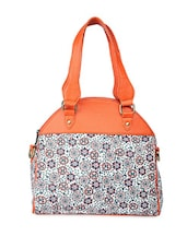 White And Orange Printed Hand Bag - Bagsy Malone