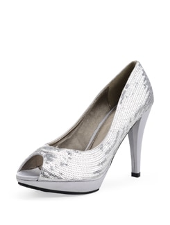 Silver Toned Satin Peep Toe Sandals With Sequins - Carlton London