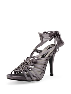 Grey Satin Strappy Sandals - Carlton London