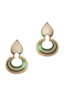 Pearl Embellished Earrings In Green - SriyasCreation