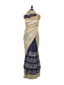 Blue And Cream Bhagalpuri Silk Saree - ROOP KASHISH