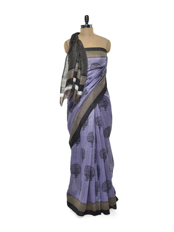 Purple And Black Bhagalpuri Silk Saree - ROOP KASHISH