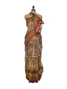 Earthy Brown Bhagalpuri Silk Saree - ROOP KASHISH