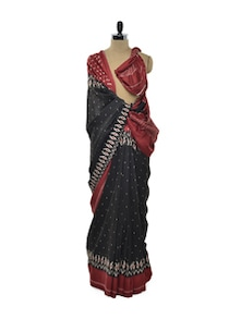Black And Red Printed Saree - ROOP KASHISH