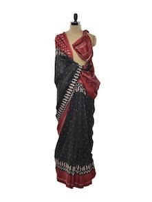 Black And Red Printed Saree - ROOP KASHISH