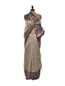 Beige Bhagalpuri Silk Saree - ROOP KASHISH