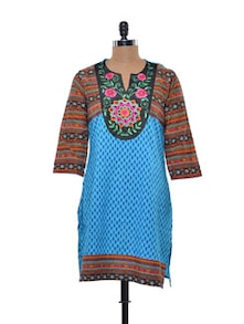 Blue And Orange Embroidered Kurta - AKS