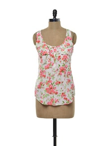 White And Pink Floral Top - Purys