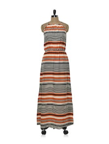 Orange And Black Noodle-Strap Dress - Purys