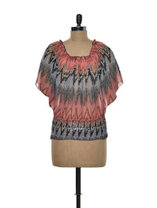 Grey And Red Top With Bat-Wing Sleeves - Purys