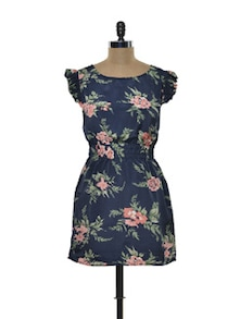 Blue And Pink Floral Dress - Purys