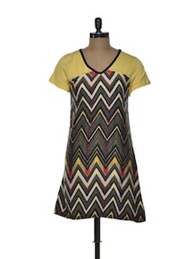 Black And Yellow  Printed Dress - CHERYMOYA